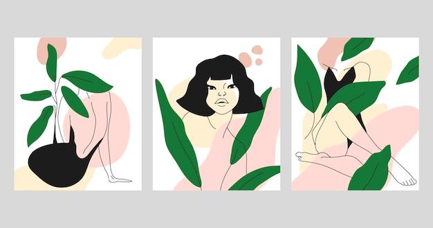 Mujeres en elegante estilo de arte lineal vector gratuito