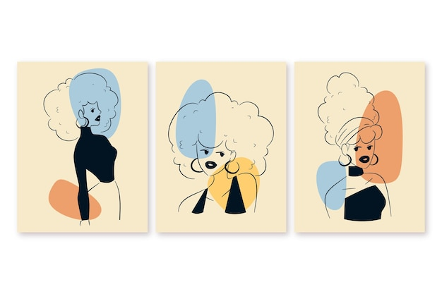 Mujeres en elegante paquete de estilo de línea de arte vector gratuito