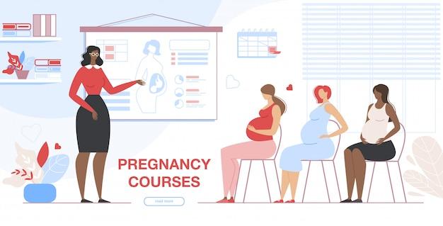Mujeres embarazadas visitando cursos de embarazo banner Vector Premium