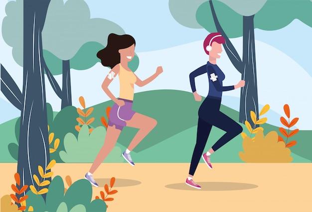 Mujeres entrenando corriendo la actividad deportiva. Vector Premium