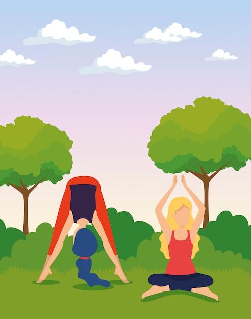 Mujeres haciendo ejercicios de yoga con árboles y arbustos vector gratuito