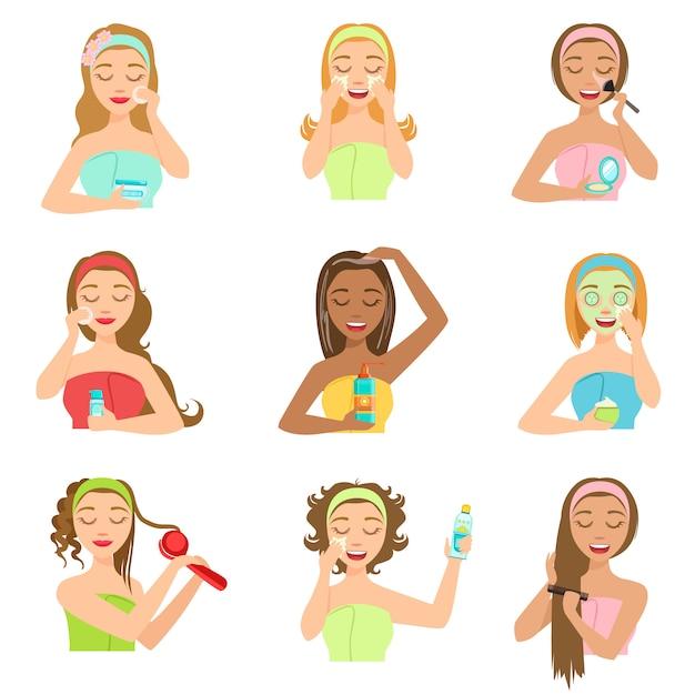 Mujeres haciendo procedimientos de spa para el cabello y la piel embellecedores Vector Premium