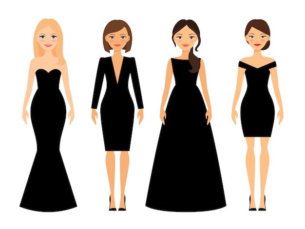 Mujeres hermosas en diferentes estilos. Vector Premium