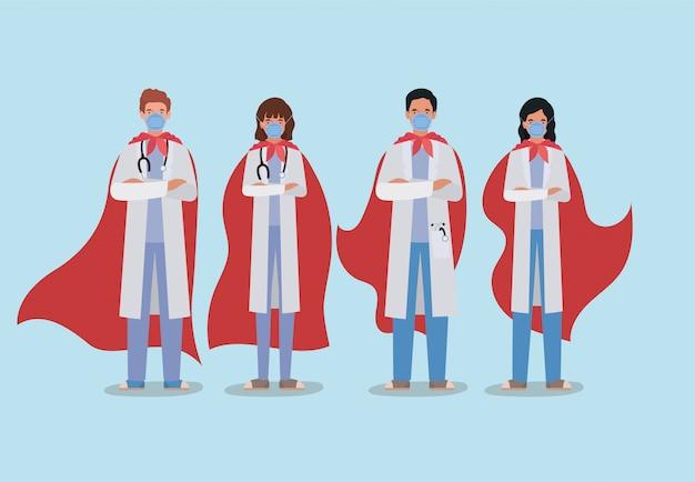 Mujeres y hombres médicos héroes con capa contra el diseño del virus ncov 2019 de los síntomas de la enfermedad de infección covid 19 cov y la ilustración del tema médico | Vector Premium