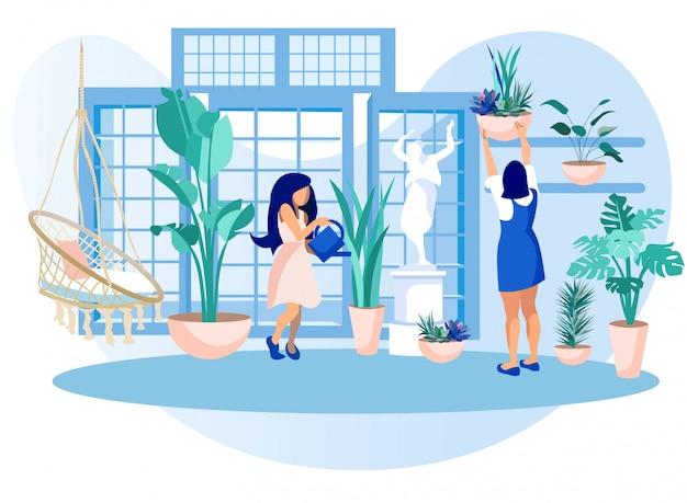 Mujeres en invernadero invernadero cuidado de plantas de jardín Vector Premium