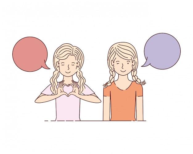 Mujeres jóvenes con bocadillo de diálogo personaje de avatar Vector Premium