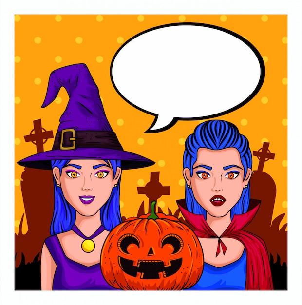 Mujeres jóvenes con disfraces de halloween y bocadillo en blanco en estilo pop-art vector gratuito
