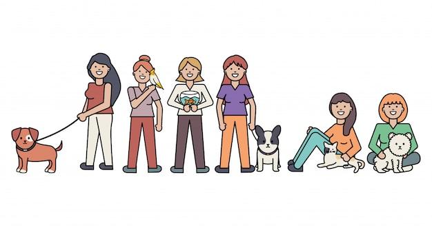 Mujeres jóvenes con lindas mascotas de perros y gatos. vector gratuito