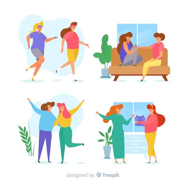 Las mujeres jóvenes que pasan tiempo juntas ilustradas vector gratuito