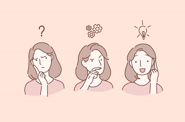 Las mujeres jóvenes serias y reflexivas con la mano sobre él sintiendo dudas piensan y encuentran una solución. Vector Premium