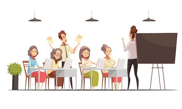 Las mujeres mayores agrupan la clase de la computadora para el cartel retro de la historieta de las personas mayores con la pizarra y las computadoras portátiles vector el ejemplo vector gratuito