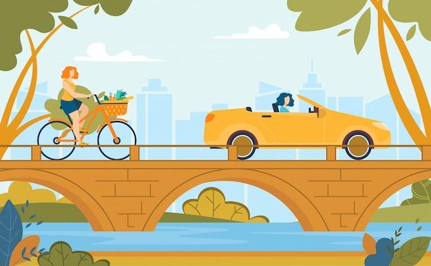 Mujeres montando bicicleta y conduciendo coche verano dibujos animados Vector Premium