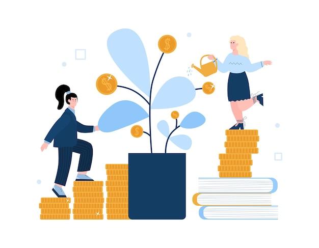 Mujeres de negocios regadera con árbol del dinero Vector Premium