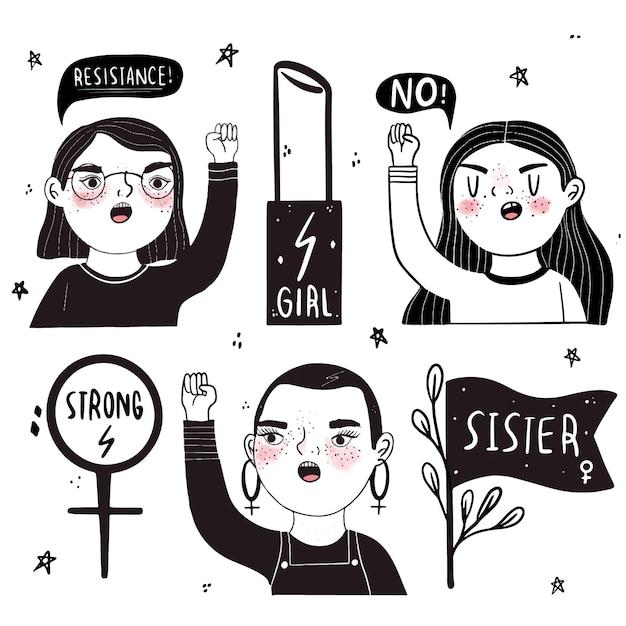 Mujeres poderosas en blanco y negro vector gratuito