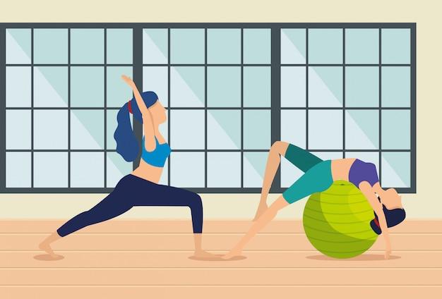 Las mujeres practican ejercicios de yoga en la casa vector gratuito