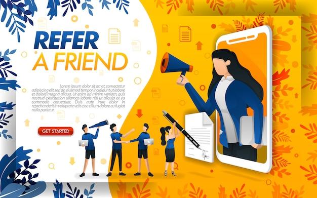 Las mujeres salen del smartphone con megáfonos para recomendar a una amiga. Vector Premium