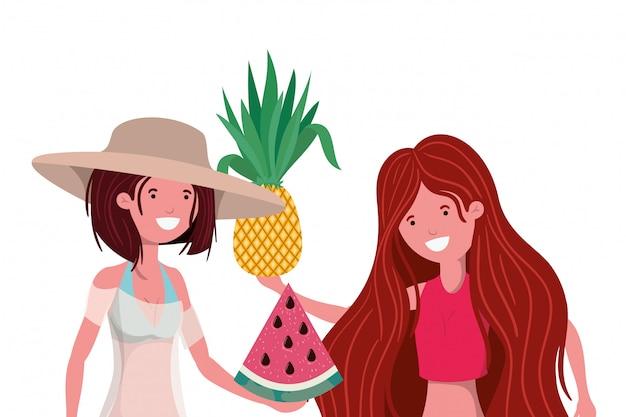 Mujeres con traje de baño y frutas tropicales en la mano. vector gratuito