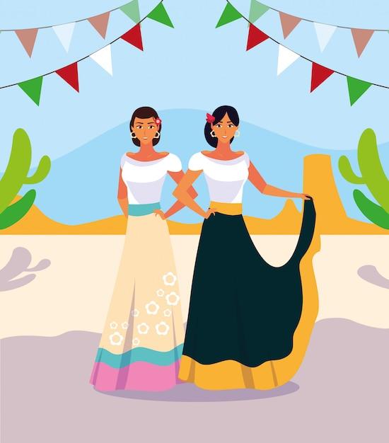 Mujeres con traje típico mexicano Vector Premium