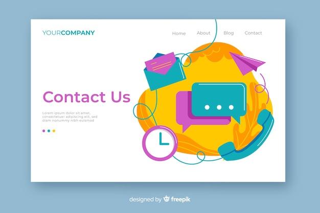 Multicolor contáctenos página de inicio con mezcla de objetos de contacto vector gratuito