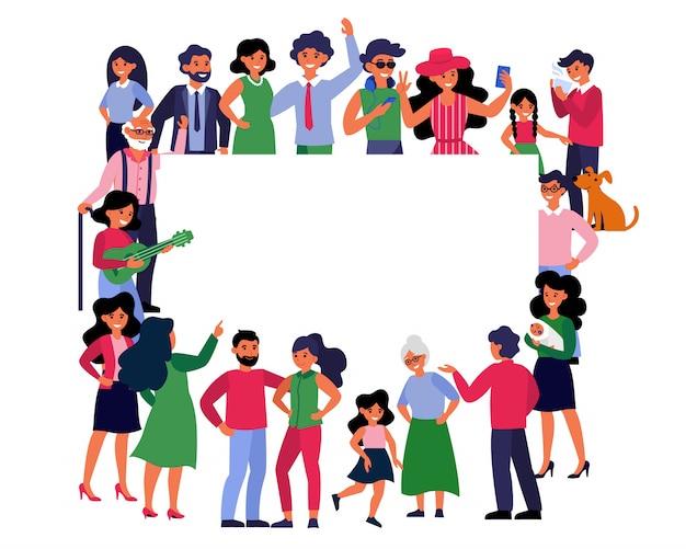 Multitud de diferentes personas de pie juntos alrededor de la pancarta en blanco vector gratuito