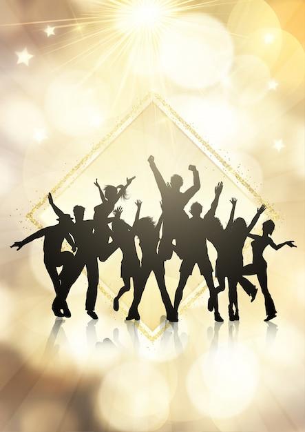 Multitud de fiesta en un fondo de luces bokeh oro vector gratuito