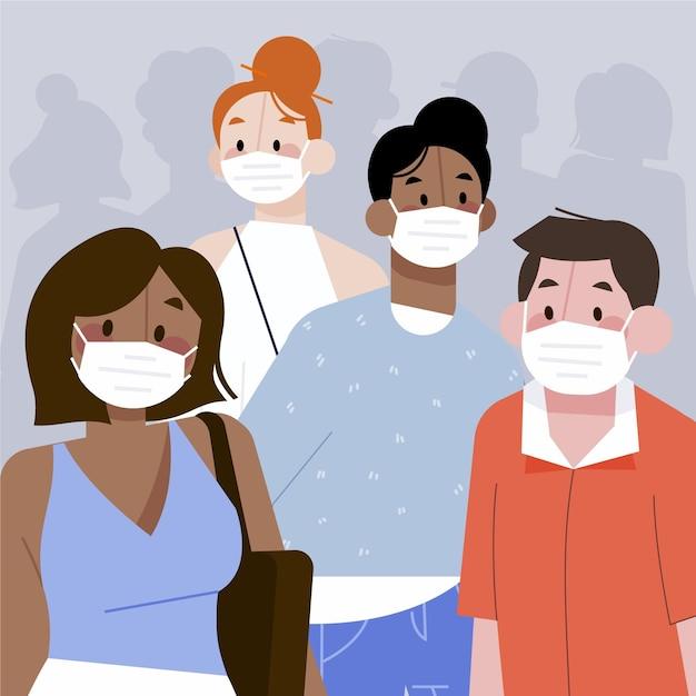 Multitud de personas con concepto de máscaras vector gratuito