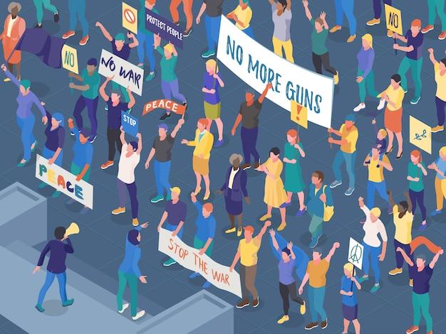 Multitud de personas que protestaban con pancartas durante la acción callejera contra la guerra isométrica ilustración vectorial horizontal vector gratuito