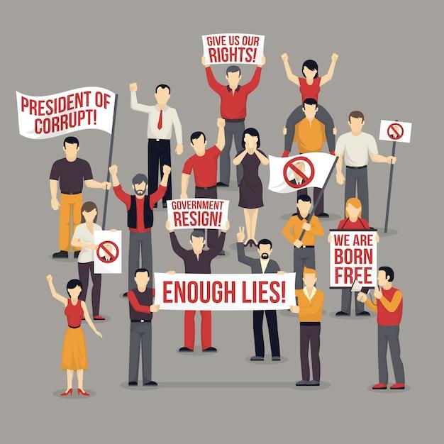 Multitud de personas que protestan ilustración vector gratuito