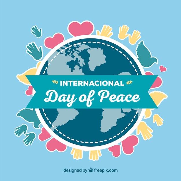 Mundo Cinta Y Dibujos De Paz Vector Gratis