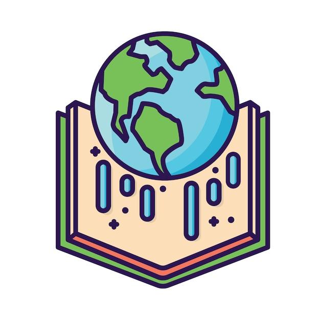Mundo en icono de libro Vector Premium
