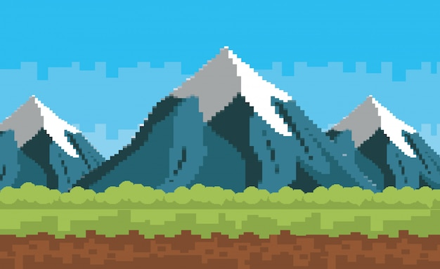 Mundo de juego de arcade y escena de píxeles. vector gratuito