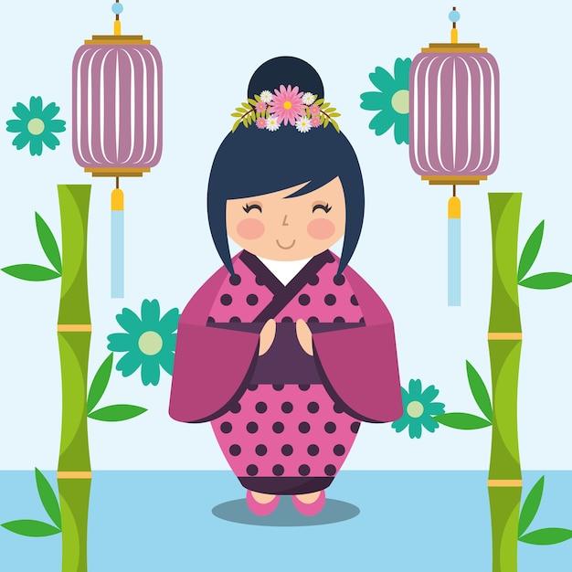 2e4b8b0d4 Muñeca japonesa kokeshi en kimono | Descargar Vectores Premium