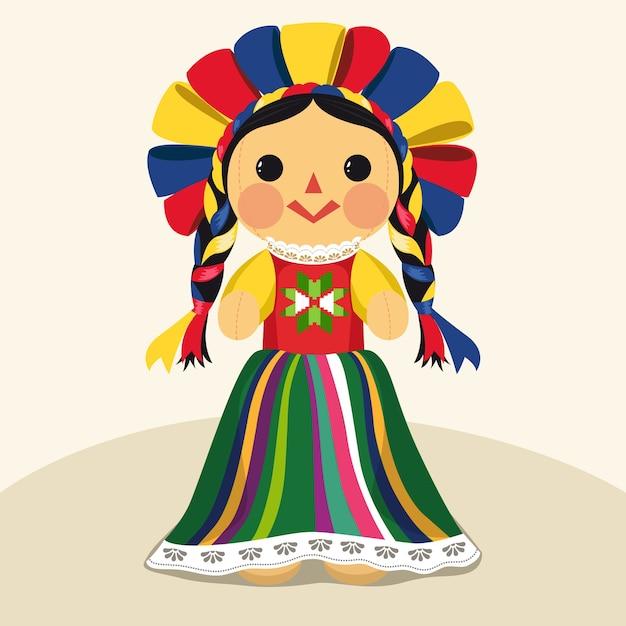 Muñeca maria tradicional mexicana Vector Premium