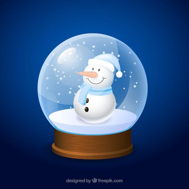 Mu eco de nieve de dibujo animado dentro de una bola de - Bola nieve cristal ...
