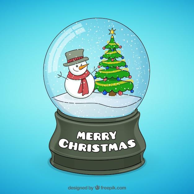Mu eco de nieve y rbol de navidad dentro de una bola de - Bola nieve cristal ...