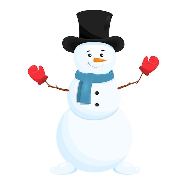 Muñeco de nieve divertido en el sombrero. aislado Vector Premium