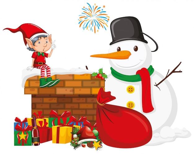 Muñeco de nieve y elfo con muchos regalos vector gratuito