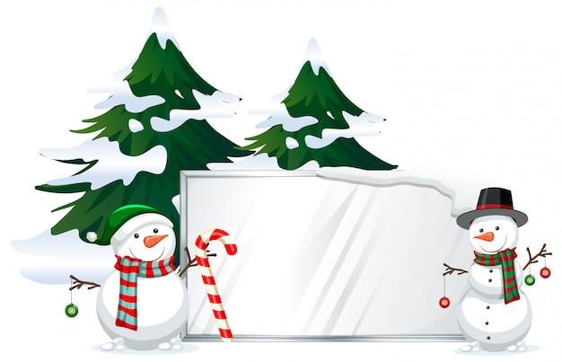 Muñeco de nieve con plantilla de letrero vector gratuito