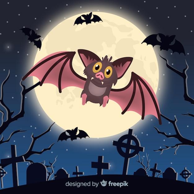 Murciélago adorable de halloween con diseño plano vector gratuito