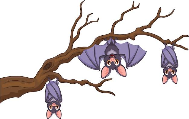 Murciélago De Dibujos Animados Feliz Colgando En El árbol