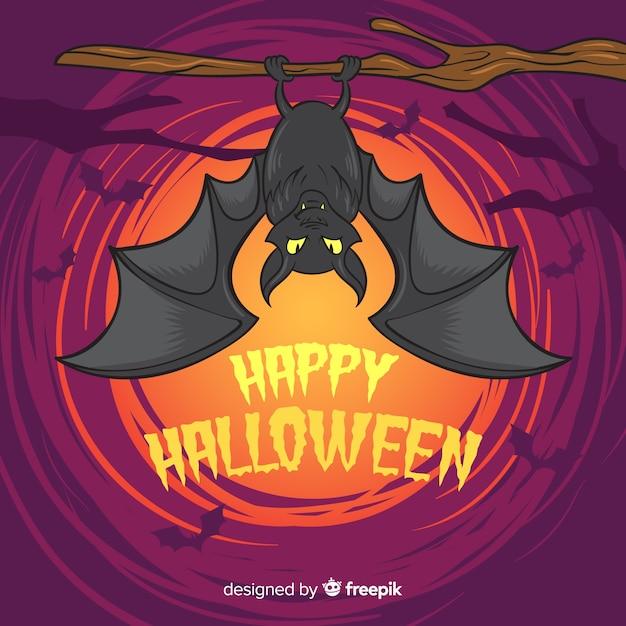Murciélago terrorífico de halloween dibujado a mano vector gratuito