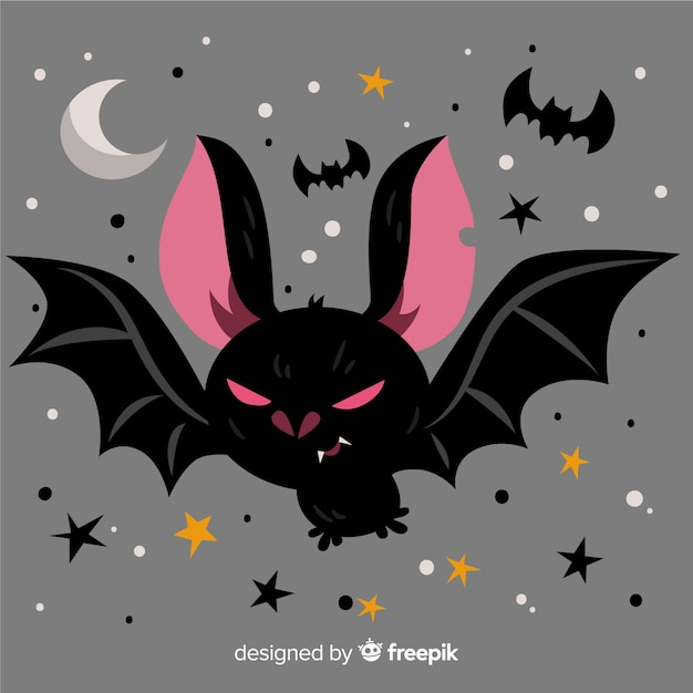 Murciélago terrorífico de halloween con diseño plano vector gratuito