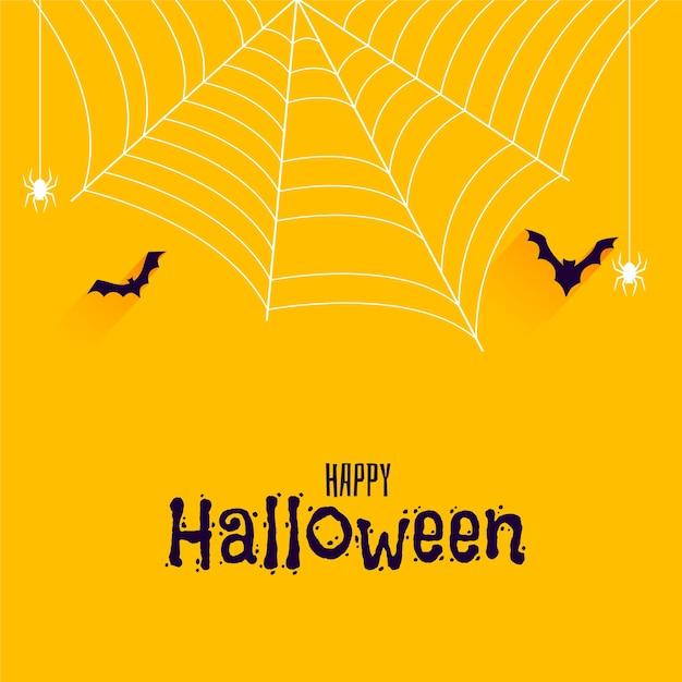 Murciélagos y arañas en banner de feliz halloween vector gratuito