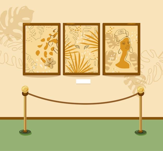 Museo de arte de pintura moderna. galería. las pinturas cuelgan de la pared en marcos. los objetos están aislados. para pancartas y volantes. Vector Premium