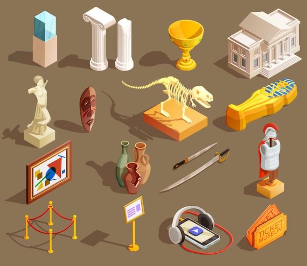 Museo de artefactos de colección isométrica vector gratuito