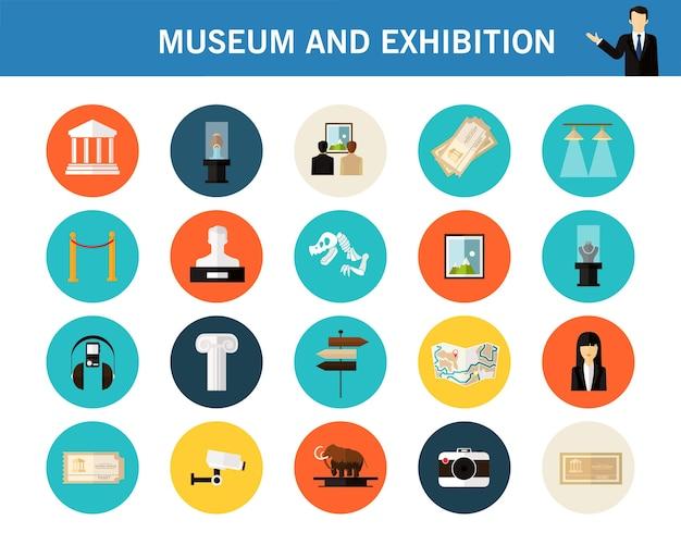 Museo y concepto de exposición iconos planos. Vector Premium
