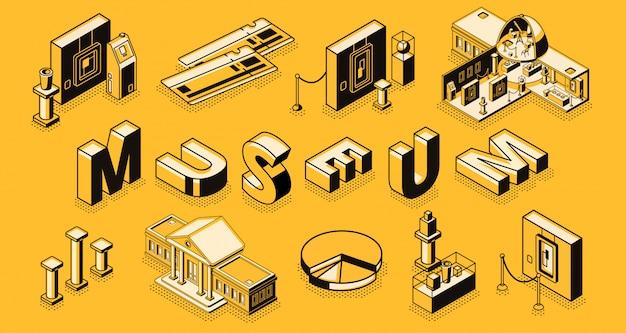 Museo o galería de arte. concepto de vector isométrico con edificio de sección transversal del museo. vector gratuito