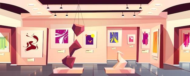 Museo o galería de arte exposición interior de dibujos animados con contemporáneo. vector gratuito