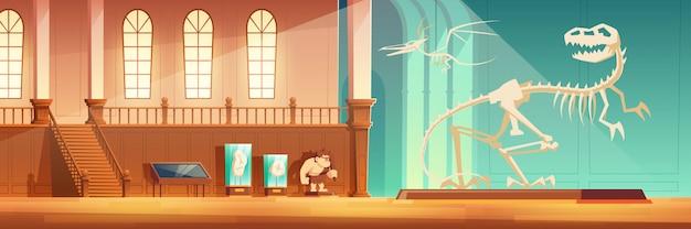 Museo paleontológico interior de dibujos animados. vector gratuito