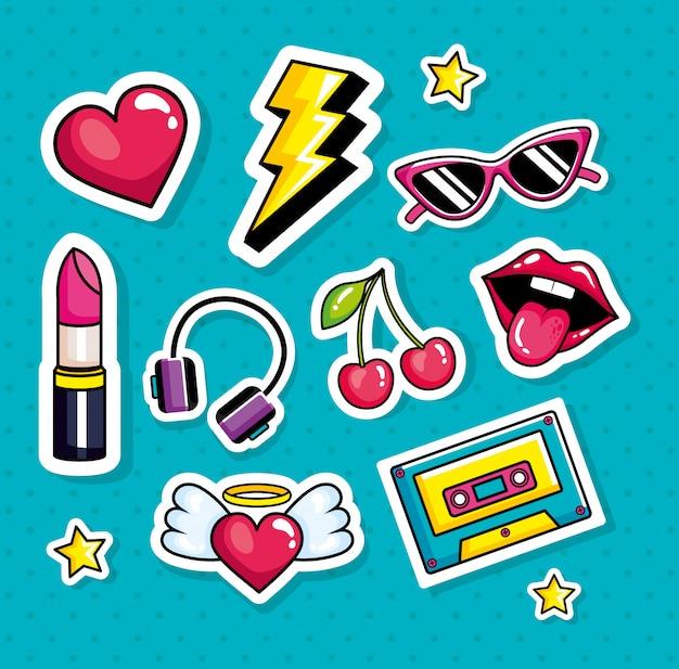 Música de cassette con iconos de estilo pop art Vector Premium